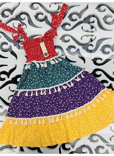 Hilal Akıncı Kids Kiz Çocuk Parçali Renklı Ispanyol Model Elbıse Kırmızı